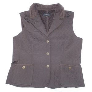 Talbots Brown Quilted Corduroy Trimmed Vest